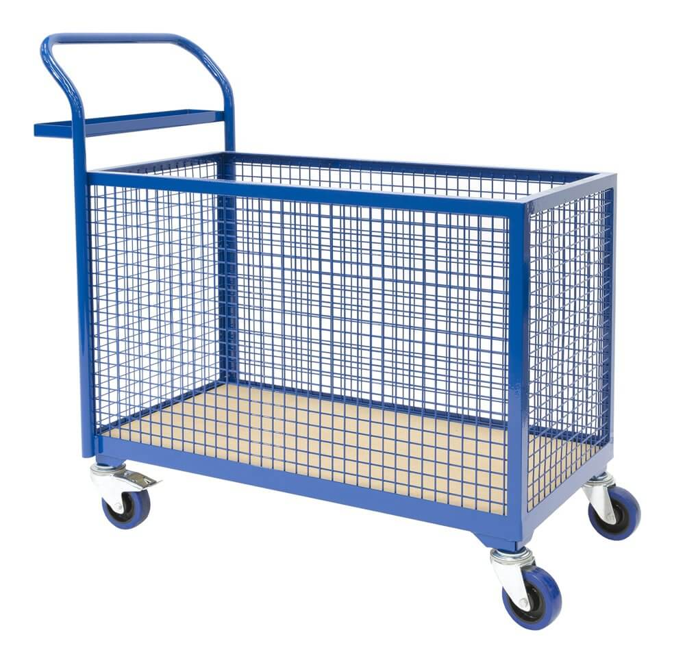 Basket Trolley, Mesh sides and operator shelf