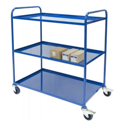 Multi tier Triple Tray trolley with 3 trays with castors