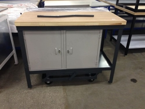 Mobile Workbench with solid wood top