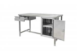 Stainless steel workbench with open cupboard