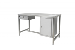 Stainless steel workbench with closed cupboard