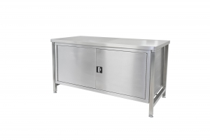 Stainless steel workbench with fully closed cupboard